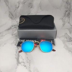 RB3548N 001/80 Hexagonal Sunglasses Blue Flash
